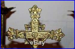 Parure d'autel pique cierges en laiton doré a l' or XIXe Siècle