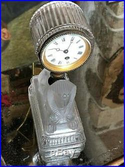 Pendule au Sphinge Cristal & Bronze Fin XIX ème Siècle Style Empire Baccarat