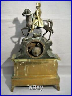 Pendule bronze Napoléon à cheval époque XIX ème siècle