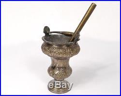 Petit aspersoir seau à bénir bronze argenté palmette église XIXè siècle