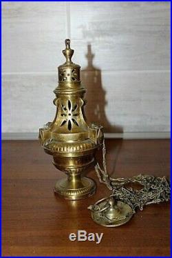 Petit encensoir d' aumônier itinérant en bronze doré XIXe Siècle