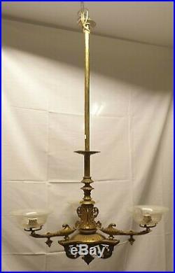 Plafonnier Style Empire. Bronze 3 Points De Lumière. Xix-xx Siècle