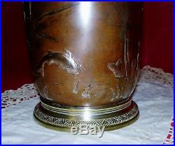 Rare Lampe À Modérateur Gagneau. En Bronze. D'époque Art Nouveau. XIX Ème Siecle