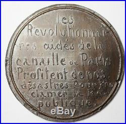 Rare Medaille Satirique Contre La Proclamation De La Republique 4 Sept. 1870