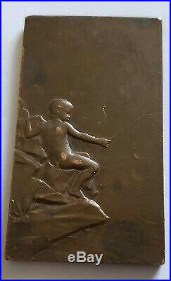 Rare Plaque Médaille Bronze G. Prudhomme Femme Nue La Source 74 gr