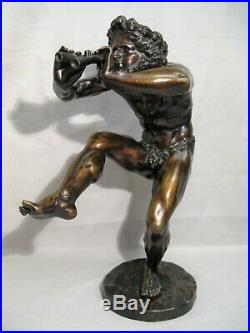 Sculpture en bronze signée Lequesne faune dansant époque XIX ème siècle