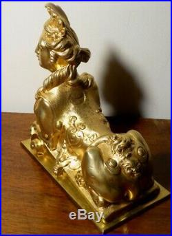 Sphinge Louis XV Sculpture en Bronze doré du XIXe siècle modèle Rocaille ormolu