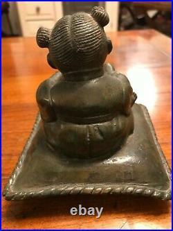 Statuette en bronze (musicienne au tambour) Chine fin XIX° siècle
