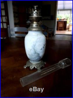 Superbe Lampe à Pétrole en Opaline et Bronze BACCARAT XIXe siecle, Napoléon III