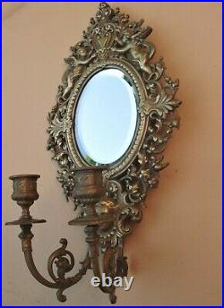Superbe ancien petit miroir mural en bronze XIXe siècle