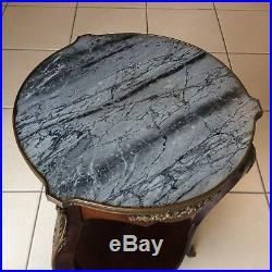 Table guéridon XIX siècle style louis xv en bois massif marbre laiton et bronze