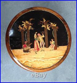 Tabouret en marqueterie décor scène galante piétement bambou. XIX siècle