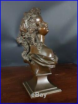 Très beau Buste jeune femme Romantique Bronze patiné XIX° siècle